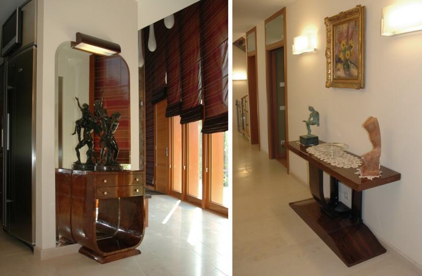 Különleges bútorok tervezése előterekbe és folyosókra.