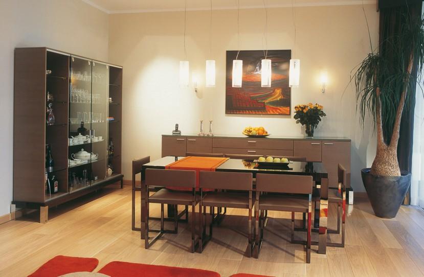 Belsőépítészet, modern étkező bútor tervezés.