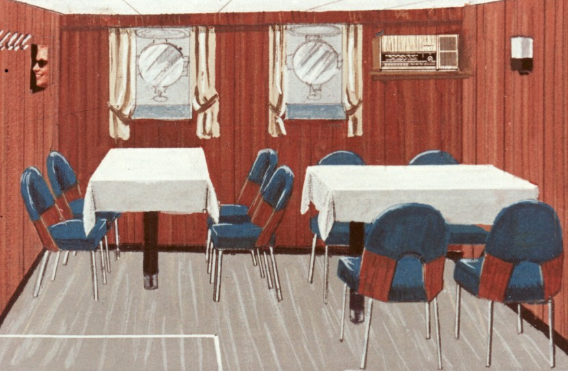 Veres Lajos belsőépítész, formatervező érdemes művész Magyar Hajó- és Darugyár munkák.